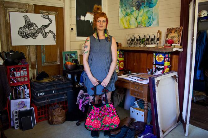 Art student in bedroom