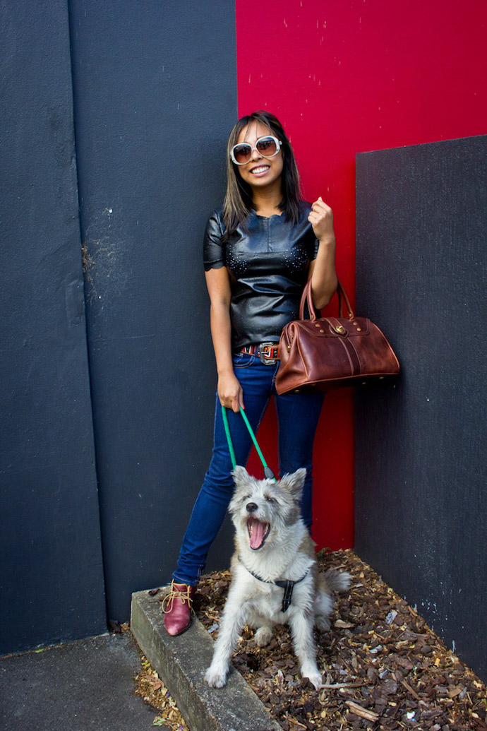 Cute fashionable girl with dog