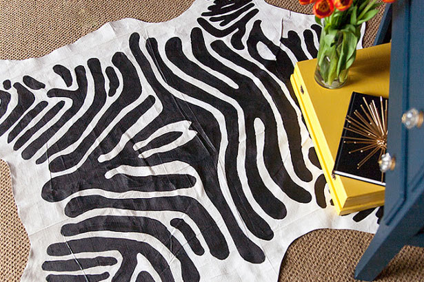 Simple zebra floor rug