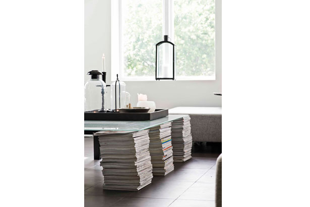 Stacked magazine coffee table