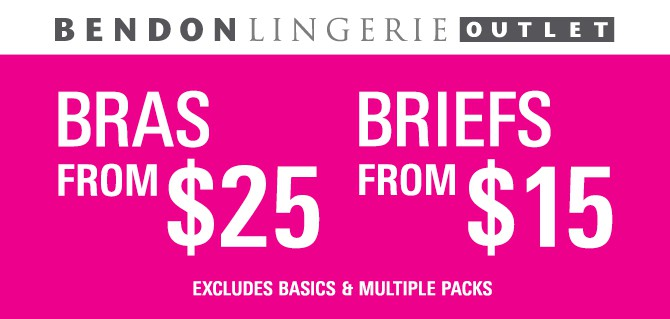 Bendon Lingerie Outlet – Bras From $25 Briefs From $15