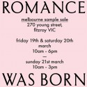 Romance Was Born - Melbourne Sample Sale