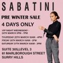 Sabatini Pre-Winter Sale
