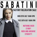 Sabatini Factory Relocation Sale