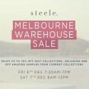 s t e e l e . Melbourne Warehouse Sale