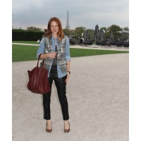 On day one of her trip to Paris Moses had seven appointments at showrooms at a fair held at Le Louvre and Le Jardin des Tuileries. She wears metallic check vest, Rag & Bone denim shirt, Carven cotton tank, Ines and Marechal leather pants, Christian Loubou