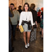 "Rubbing shoulders with one of her style inspirations Leandra Mendine aka ""the Man Repeller"" at the New York Fashion Week Dannijo presentation. Photo credit: Ben Capp"