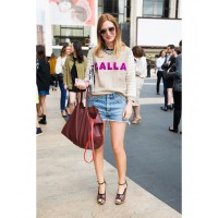 Outside New York's Lincoln Centre wearing Calla sweatshirt, Mother denim shorts, Thierry Lasry Sexxy sunglasses, Dries Van Noten wedges and Celine handbag. Photo credit: Ben Capp