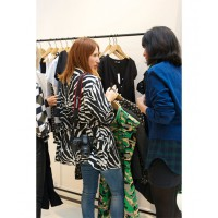 At the Carven Paris showroom trying on the upcoming SS14 range and chatting to the designer. Photo credit: Angie Fox