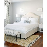 Why rug placement is everything and you don't need to go big. http://social.popsugar.com/AM-Dolce-Vita-Master-Bedroom-Windsor-Smith-Pelagos-Drapes-Mist-William-Sonomas-Upholstered-Bed-French-Bow-front-Dresser-23691476