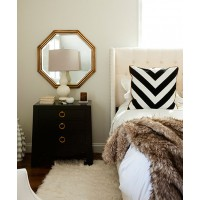 Fancy drawer pulls transform a generic bedside table http://theglitterguide.com/2014/07/15/a-luxe-home-makeover-by-jws-interiors/