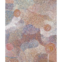 "Any painting by Bill Whiskey Tjapaltjarri, ""I really love Aboriginal art and the colours in this artwork are amazing."" http://www.japingka.com.au/collections/bill-whiskey-tjapaltjarri"