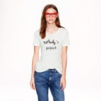 Hugo Guinness for J.Crew 'Nobody's Perfect' Linen Tee, AUD $71.80 http://ad.doubleclick.net/ddm/clk/278081390;105280385;f?http://www.jcrew.com/womens_category/knitstees/shortsleevetees/PRDOVR~A2747/A2747.jsp?srcCode=BRLSMMissyConfidential&utm_source=BRLS