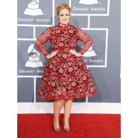Adele in Valentino. Some have said this dress resembles a 1950s semi-shag carpet. We beg to differ. Adele would only ever go the full shag...You look awesome Adele! Via hollywoodreporter.com