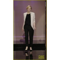 Cate Blanchett at a recent appearance on The Tonight Show with Jay Leno. http://www.justjared.com/photo-gallery/2917151/cate-blanchett-michael-b-jordan-leno-appearance-01/ Stella Mc Cartney jacket 3.1 Phillip Lim pants roger viver shoes tonight show with