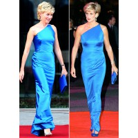 Naomi Watts (left) in character as Princess Diana wears the Cobalt Blue Versace gown that the real Diana (right) wore to the Victor Chang Research Institute gala in Sydney in 1996. http://www.onestyleatatime.com/2013/06/diana-and-grace-two-princesses-diar