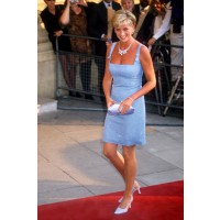 Diana in a Jacques Azagury sky-blue, beaded, georgette dress at her last public appearance, the premiere of Swan Lake in 1997. Naomi Watts wears a recreation of the dress in the promotional poster for Diana. http://www.marieclaire.co.uk/celebrity/pictures