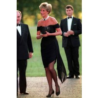 "The infamous ""revenge dress"" worn by Diana in 1994, the day Charles announced his affair with Camilla Parker Bowles. http://www.marieclaire.co.uk/celebrity/pictures/30982/42/princess-diana-s-iconic-style-moments-fashion-pics-marie-claire-uk.html#index=23"