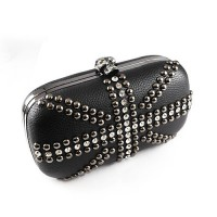 Coco kitten skull studded hardbox clutch $59 http://www.cocokitten.com.au/skull-studded-hardbox-clutch-black/