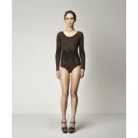 Arcades Seamless Bodysuit in Black w Copper