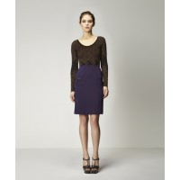 Arcades Seamless Bodysuit in Black w Copper & Cylinder Silk Skirt in Bilberry