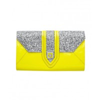 Mimco Maharaja Envelope Clutch in Jonquil/Silver, $279, mimco.com.au
