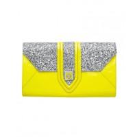 Mimco Maharaja Envelope Clutch in Jonquil/Silver, $279, mimco.com.au