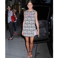Olivia Palermo rocks a geometric print shift dress http://agirlnamedbong.wordpress.com/2012/09/07/celebs-olivia-palermo-goes-graphic-for-fashions-night-out/ credit: Getty
