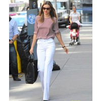 Miranda Kerr strolls through NYC in white pants and a cute patterned shirt http://www.justjared.com/2012/06/27/miranda-kerr-beautiful-skin-doesnt-happen-accident/ Credit: Ivan Nikolov; Photos: WENN