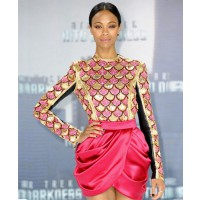 Zoe Saldana looks ultra glam in a geometric Balmain ensemble http://www.aufeminin.com/mode/zoe-saldana-en-balmain-sp26455.html credit: Getty