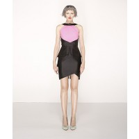 Nicola Finetti Black Pink Halter Contrast Peplum Dress $460 http://www.nicolafinetti.com/eboutique/collections/1083-halter-contrast-peplum-dress.html