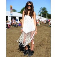 White dress & roughed up boots http://www.harpersbazaar.com/fashion/fashion-articles/glastonbury-style-pictures#slide-6 - credit: Mr Newton