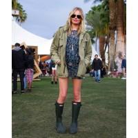 Kate Bosworth again - dress gumboots http://www.harpersbazaar.com/fashion/fashion-articles/coachella-street-style-2012#slide-20
