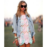 Pastel dress with denim jacket http://www.harpersbazaar.com/fashion/fashion-articles/coachella-street-style-2012#slide-8 credit: mr newton