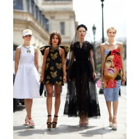 Perminova (far right) with her Russian fashion posse, designer Vika Gazinskaya, editor Miroslava Duma and designer Ulyana Sergeenko source: electricsekki blog credit: Tommy Ton http://blog.electricsekki.com/2012/08/earning-her-stripes.html