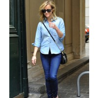 Reese Witherspoon rocks double denim source: denim blog credit: INF Daily http://www.denimblog.com/2011/05/reese-witherspoon-in-double-denim-4/