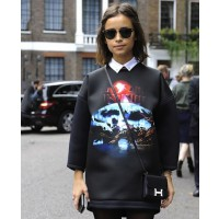 1: Miroslava Duma in Balenciaga's intergalactic sweater source: Elleuk.com credit: IMAXTREE http://www.elleuk.com/style/street-style/fashion-week-street-style-trend-the-statement-sweater#image=1