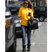 Jessica Alba donning biker boots at Starbucks in LA source: style bistro credit: Pacific Coast News http://www.stylebistro.com/lookbook/Motorcycle+Boots/JIdjSPnWI-A