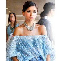 Miroslava Duma in a beautiful Tom Binns necklace source: www.elle.com credit: Kelly Stuart http://www.elle.com/fashion/street-chic/miroslava-duma-chanel-new-york-fashion-week-street-style-1#slide-10