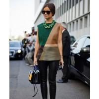 Miroslava Duma at the Milan Spring 2013 shows source: www.harpersbazaar.com credit: Diego Zuko http://www.harpersbazaar.com/fashion/fashion-articles/miroslava-duma-green-color-block-milan-fashion-week-street-style-spring-2013#slide-24