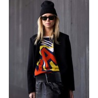Elin Kling in Phillip Lim's Ka-pow sweater source: thefrontrowview.com credit: Tommy Ton http://www.thefrontrowview.com/2012/08/must-have-phillip-lims-ka-pow-sweater.html