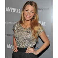Blake Lively rocking a sequined shirt source: Just Jared credit: Getty http://www.justjared.com/photo-gallery/2619555/blake-lively-haywire-screening-11/