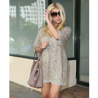 Jessica Simpson wears sequin day dress source: pop sugar credit: X17 online http://www.popsugar.com/Jessica-Simpson-Wearing-Short-Sequin-Dress-Pictures-18607057