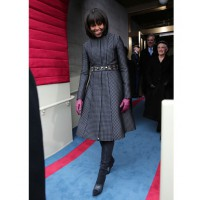 Michelle in Thom Browne coat, J Crew belt and shoes. Via http://www.huffingtonpost.com/2013/01/21/michelle-obama-inauguration-2013-outfit-photos_n_2519712.html