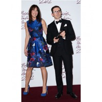 Wife of British PM Samantha Cameron (left) presenting Erdem Moralioglu his BFA Award wearing Erdem SS2013 currently available on netaporter.com $AU4300. Source: graziadaily.co.uk.