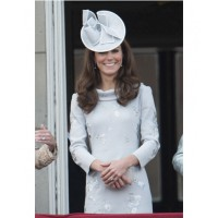 Kate Middleton wearing grey Erdem dress and Jane Corbett hat to a friend's wedding in Oxfordshire last October. Source: graziadaily.co.uk.