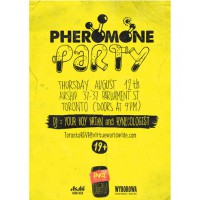 A poster advertising one of the pheromone parties...
