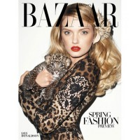Lily Donaldson holding a leopard cub for Harper's Bazaar. Source: Terry Richardson for Harper's Bazaar
