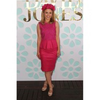 Racing identity Emma Freedman wearing an Erdem-inspired, fuchsia, Scanlan and Theodore dress to the Caulfield Cup last October. Source: becauseiamfabulous.com.