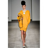 Isaac Mizrahi used poodles as accessories that colour-matched his dresses. Source: Filippo Fior / GoRunway.com